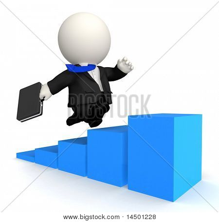 3D Business man climbing up - isolated over white