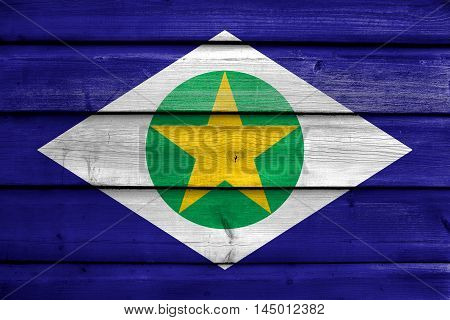 Flag Of Mato Grosso State, Brazil, Painted On Old Wood Plank Background