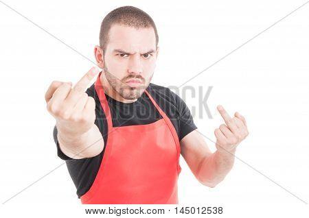 Aggressive Supermarket Employee Doing Double Obscene Sign