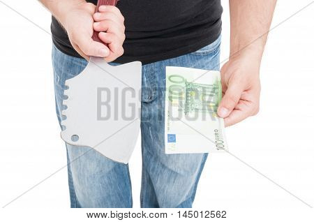 Close-up Male Hand Threaten To Receive Money