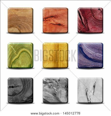 Set of Wood Buttons - multicolored stained wood