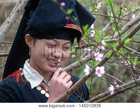 HA GIANG, VIETNAM, February 18, 2016  ethnic Hmong teenager, Ha Giang mountainous areas, promenade gardens, called peach flowers, spring