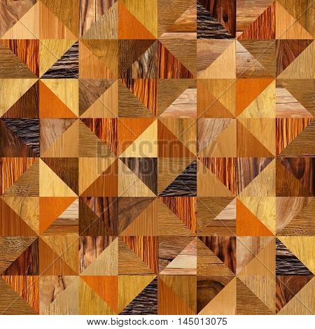 Abstract triangle pattern - different colors - wooden background