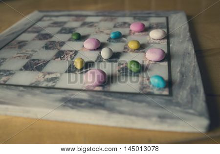 candy on the board instead of checkers