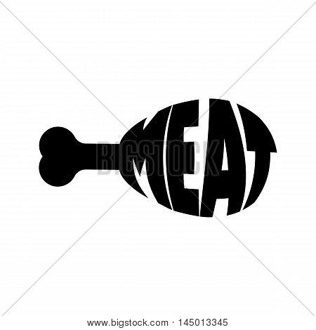 Monochrome meat stylized a silhouette with the text. A logo, an emblem for the menu of restaurant  and another. Vector illustration.