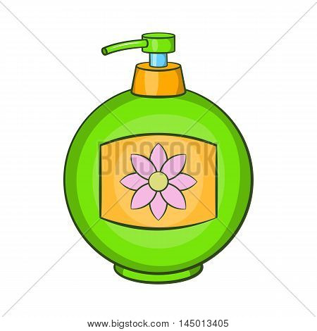 Green plastic bottle of liquid soap icon in cartoon style on a white background