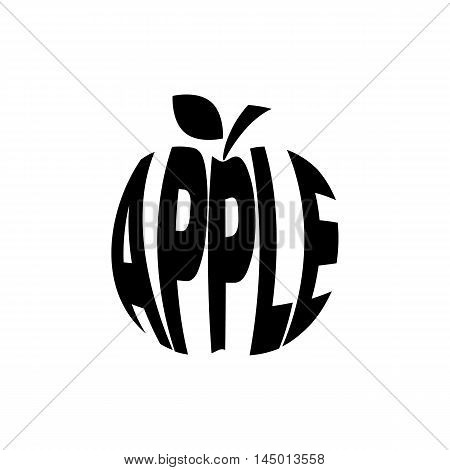 Monochrome apple stylized a silhouette with the text. A logo, an emblem for the menu of restaurant  and another. Vector illustration.
