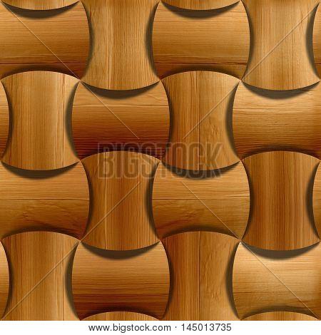 Wooden rounded blocks stacked for seamless background veneer alder