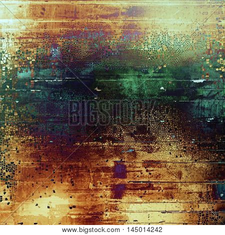 Old grunge vintage background or shabby texture with different color patterns: green; blue; red (orange); purple (violet); yellow (beige); brown