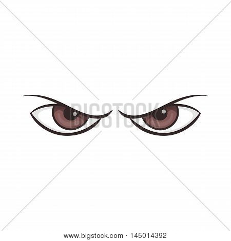 Pair of eyes watching icon in cartoon style on a white background