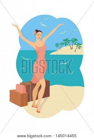 a young girl enjoys the beginning of the vacation on the beach, vector