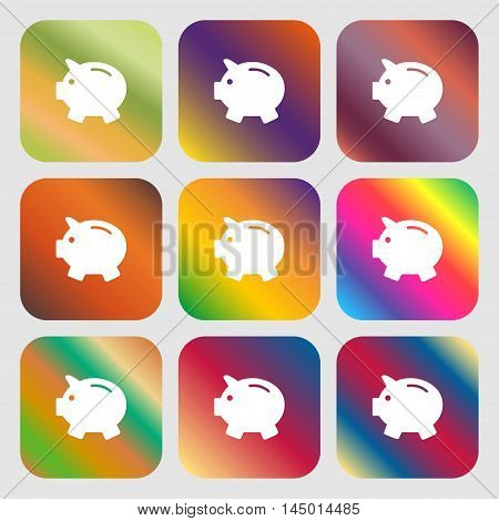Piggy Bank - Saving Money Icon . Nine Buttons With Bright Gradients For Beautiful Design. Vector