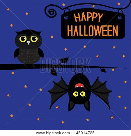 Happy Halloween card. Bat hanging on tree. Wrought iron sign board. Owl bird. Cute cartoon character set. Baby illustration collection. Flat design. Night background stars. Vector illustration