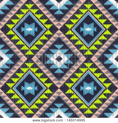 Embroidery vector design. Seamless colorful pattern in tribal navajo style. Traditional ethnic folk motif. Aztec vector background. Abstract geometric art print. hand drawn. Textile design fabric