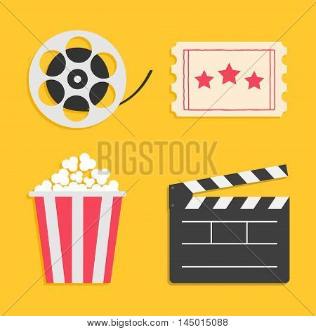 Movie reel Open clapper board Popcorn Ticket Cinema icon set. Flat design style. Yellow background. Vector illustration