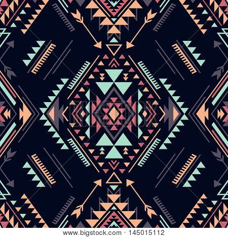 dark color tribal Navajo vector seamless pattern. aztec fancy abstract geometric art print. ethnic hipster backdrop. Wallpaper cloth design fabric paper cover textile weave wrapping.