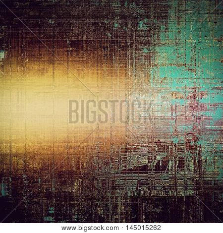 Vintage style designed background, scratched grungy texture with different color patterns: blue; purple (violet); yellow (beige); brown; cyan; pink