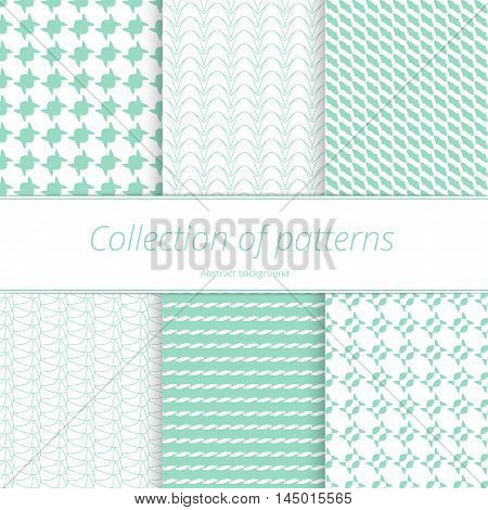 Set of seamless textures tracery. Delicate background for decoration. Simple graphic pattern. Vector illustration.