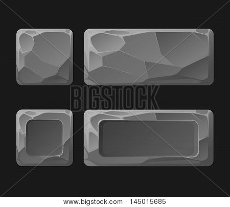 Set of Cartoon stone game assets set, isolated on black, vector Buttons for Web or Game Design