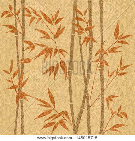 Decorative bamboo branches - Bamboo forest background - seamless background - Interior Design wallpaper - wall panel pattern - White Oak wood texture