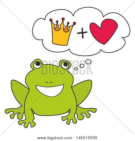 Prince or princess green frog dreaming about crown and love. Vector illustration isolated on white background