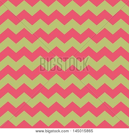 Tile vector pattern with pink zig zag on green background