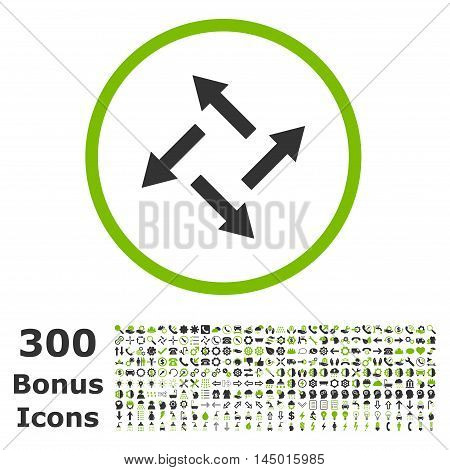 Centrifugal Arrows rounded icon with 300 bonus icons. Vector illustration style is flat iconic bicolor symbols, eco green and gray colors, white background.