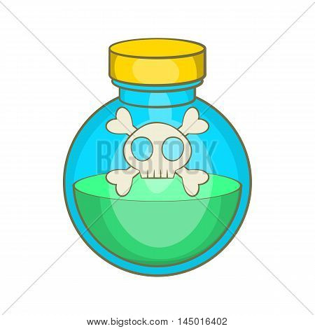 Glass bottle of green poison icon in cartoon style on a white background