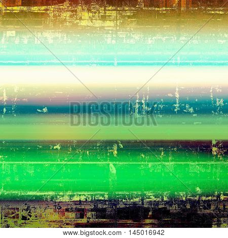 Vintage textured background with copy space. Old style backdrop with different color patterns: green; blue; yellow (beige); brown; cyan; white