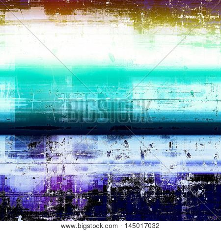Retro style abstract background, aged graphic texture with different color patterns: green; blue; yellow (beige); white; cyan; black