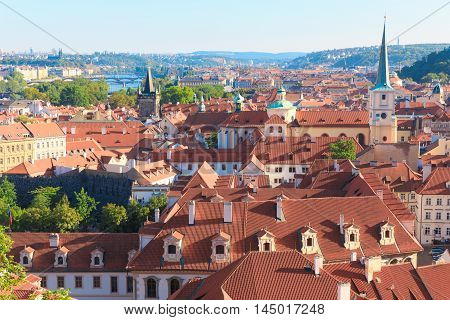 Prague the capital of the Europe state of the Czech Republic. Architecture cityscape of top view of the city