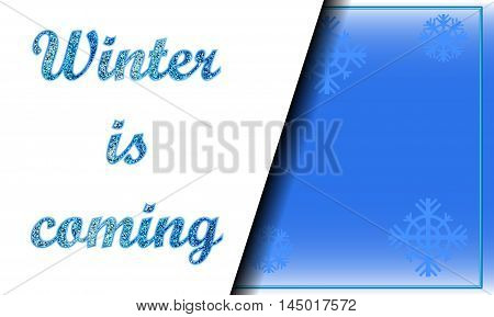 Winter is coming layered background for advertisement. Seasonal card vector template with glitter effect and place for text. Horizontal image for Christmas sale, winter cover, promotion coupon