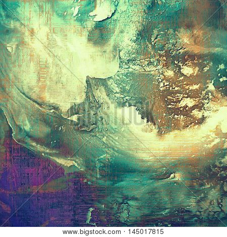Grunge abstract textured background, aged backdrop with different color patterns: green; blue; purple (violet); yellow (beige); brown; cyan