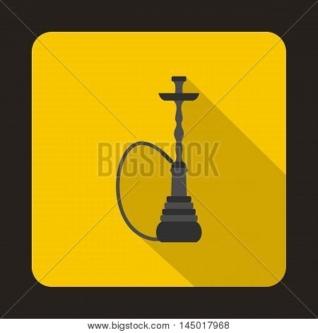 Hookah icon in flat style on a yellow background