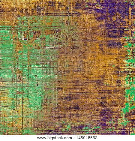 Abstract scratched background or frame with weathered grunge texture. Ancient style backdrop with different color patterns: green; purple (violet); yellow (beige); brown