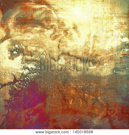 Highly detailed scratched texture, aged grungy background. Vintage style composition with different color patterns: gray; red (orange); purple (violet); yellow (beige); brown; cyan