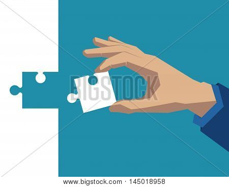 Hand Holding Piece Of Puzzle White. Concept Business Illustration. Vector Flat