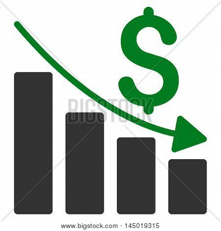 Sales Crisis Chart icon. Vector style is bicolor flat iconic symbol with rounded angles, green and gray colors, white background.