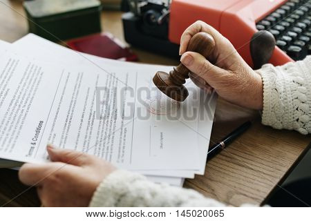 Stamping Application Form Documents Concept