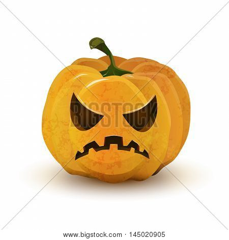 Cartoon halloween pumpkin with terrible face isolated on white