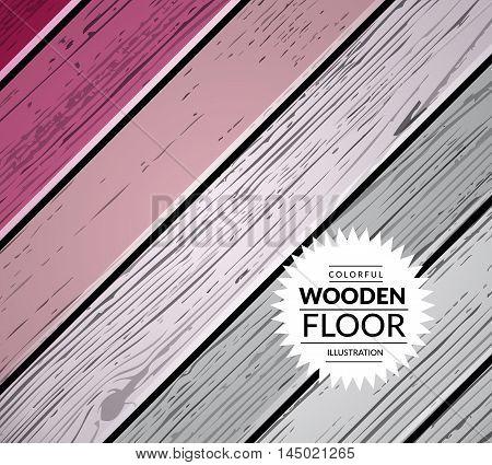 Colorful vintage wooden floor. Vector background illustration
