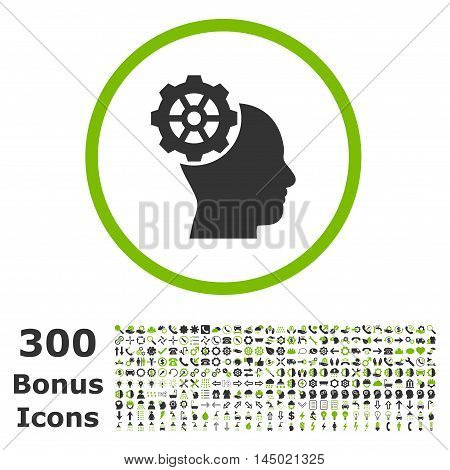 Head Gear rounded icon with 300 bonus icons. Vector illustration style is flat iconic bicolor symbols, eco green and gray colors, white background.