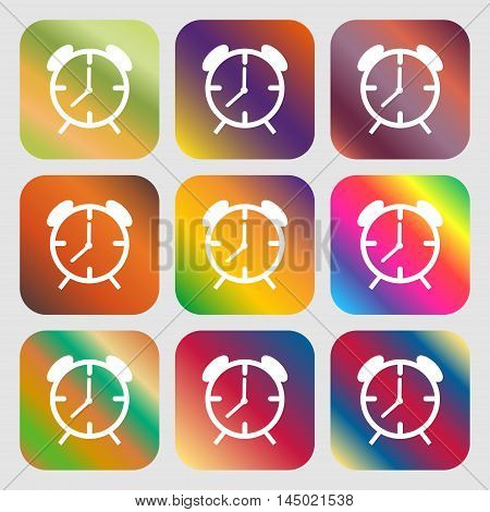 Alarm Clock Sign Icon. Wake Up Alarm Symbol . Nine Buttons With Bright Gradients For Beautiful Desig