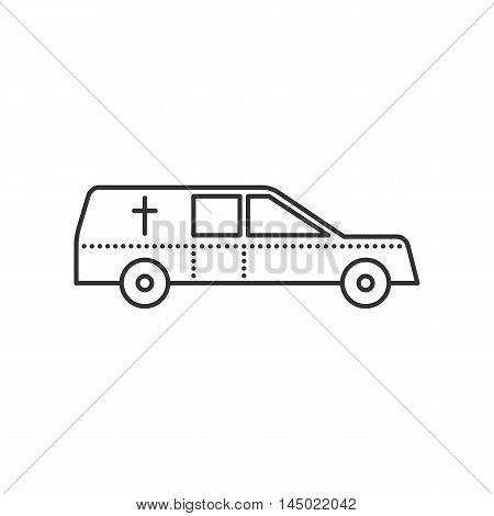 Coffin transport. Hearse car flat icon. Symbol of death and funeral. Vector outline illustration isolated on white background. Thin line style
