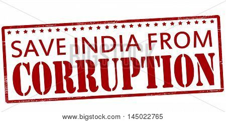 Rubber stamp with text save India from corruption inside vector illustration