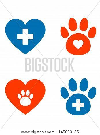 veterinarian icons set with paw heart and cross
