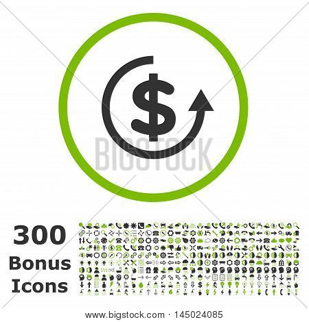 Refund rounded icon with 300 bonus icons. Vector illustration style is flat iconic bicolor symbols, eco green and gray colors, white background.