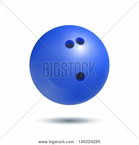 Blue bowling ball on a white background. Realistic vector illustration