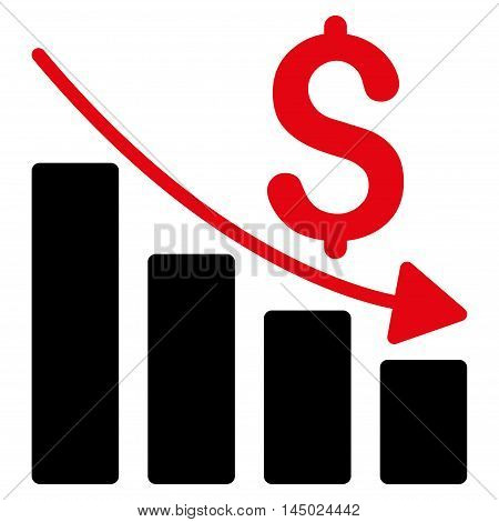 Sales Crisis Chart icon. Vector style is bicolor flat iconic symbol with rounded angles, intensive red and black colors, white background.