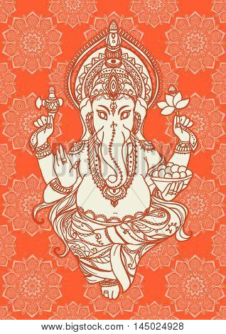 Ornament beautiful card with lord Ganesha image. God with elephant head. Illustration of Happy Ganesh Chaturthi. Invitation, gretting, birthday, holiday card. India traditional festival shree Ganesha